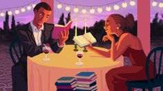Mary McLain (), American / 'Perfect Date', 2015 .... depicts couple on a dinner date each reading a book, with candles and wine onthe table and a stack of books on the floor, to illustrate NPR article on romance books