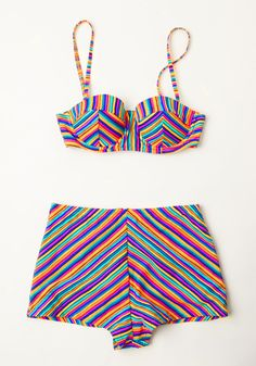 Cool by the Pool Swimsuit Bottom. Beat the heat in bold style as you lounge poolside in these chevron-striped swim shorts from Mink Pink! #multi #modcloth