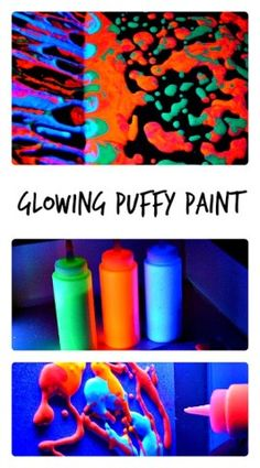 Homemade Glow In the Dark Puffy Paint Recipe Winter craft time. Projects For Kids, Craft Projects, Project Ideas, Grinch, Fun Crafts, Crafts For Kids, Homemade Paint, Puffy Paint, Glow Party
