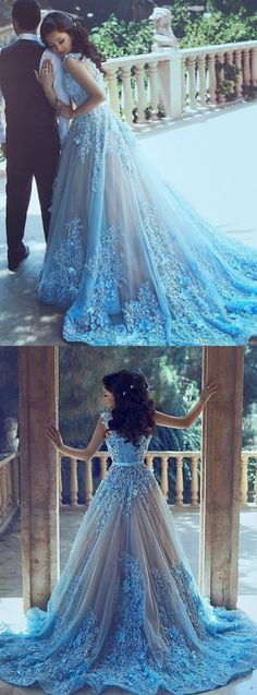 Blue Wedding dresses, Wedding dresses Train, Tulle Wedding dresses, Wedding Dresses 2017, Sleeveless Wedding Dresses, A-Line Blue Sleeveless Tulle Wedding Dress 2017 With Chapel Train