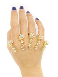 Shop Golden Rhinestone Flower Embellished Linked Ring Pack from choies.com .Free shipping Worldwide.$11.69