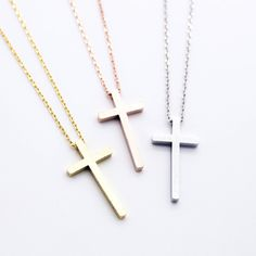 "- Yellow Gold / Silver / Rose Gold Plated - Cross measures about 1"" - Length about 17"""