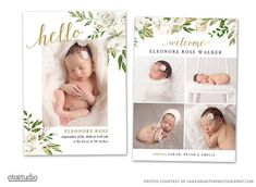 Birth Announcement Template - Girl Newborn Announcement - Baby Annoucement - Template for Photoshop Photographer Custom Printable Card Birth Announcement Template, Birth Announcement Boy, Announcement Cards, Ice Cubes, Cute Cards, Boy Cards, Printable Cards, Videos, New Baby Products