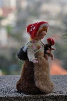 "Elsa Beskow's ""Children of the forest"" - Forest Mother with a baby. Needle felted soft sculpture. Elsa Beskow and Waldorf Inspired"