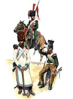Zappatore del 2 rgt. fanteria, cavalleggero della compagnia di élite del 1 rgt. cavalleggeri e caporale del 1 rgt. cavalleggeri