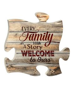 Loving this Wood 'Every Family' Puzzle Piece Wall Décor on #zulily! #zulilyfinds
