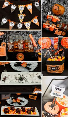 Cute Halloween Spider - Spooky Cute Halloween Party in Black and Orange! Trick or treat banner, halloween party food labels, cupcake toppers, water bottle labels, party ideas by Swish Printables