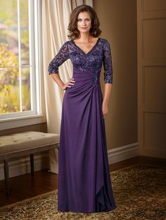 A-line/Princess V-neck 3/4 Sleeves Sequin Floor-length Chiffon Mother Of The Bride Dresses