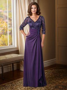 A-line/Princess V-neck 3/4 Sleeves Sequin Floor-length Chiffon Mother Of The Bride Dresses