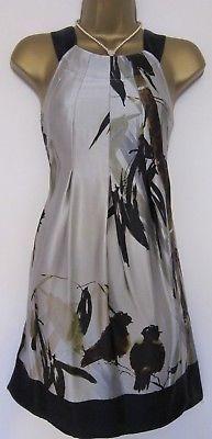 TED BAKER ~Bird Print~ SILK Dress UK 8 1 ~ Party WEDDING Cruise Grey Palm Floral