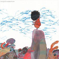 """Giulia Maidecchi * Let's dance together - Illustration of a wind story. """"Do you like my music that rushes on the grass?"""" asks the howling wind. * Balliamo insieme * Illustrazione per una storia del vento. """"Ti piace la mia musica che ruggisce sull'erba dei prati?"""" chiede il vento danzante battendo forte le mani."""