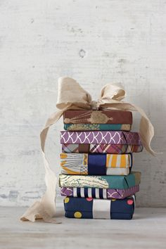 funky patterned gift wrapped boxes