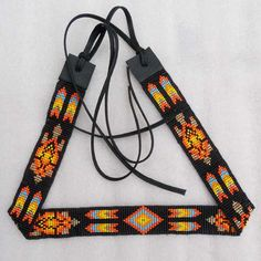 Black Fire- Native American Style- Seed Beads Turtle Beaded Hatband