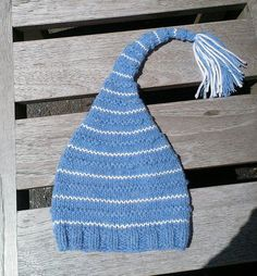 blue knit baby hat blue tassel baby hat baby by UniqueKnitDesign