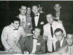 Back together ten years after the war. ( L to R, bottom): Bill, Chuck Grant, Harry Welsh, George Luz; ( top, standing): Ken Baldwin, Dick Wright, Babe, Shifty Powers.