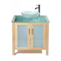 Images Photos Vanity in Light Bamboo with Glass Vanity Top and Vessel Sink
