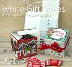 Christmas 3x3 squares on White Gift Boxes, featuring Stampin Up stamps, paper, ink. Cookie Cutter Christmas bundle reindeer and Presents & Pinecones and Candy Cane Lane paper..