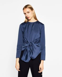 Image 2 of POPLIN TOP WITH KNOT from Zara