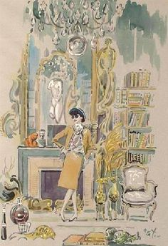 FABULOUS Fashion sketch of Gabrielle CHANEL in her Paris Apt.