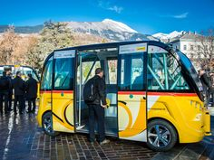 """Autonomous """"PostBus"""" Shuttles Launch In Switzerland Post Bus, Electric Cars, Public Transport, Switzerland, Transportation, Poster, Product Launch, World, Vehicles"""