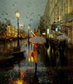 Eduard Gordeev's cityscape scenes distinctly capture the moody ambiance of dark skies and rain-soaked streets. TheSt. Petersburg-based photographeroften