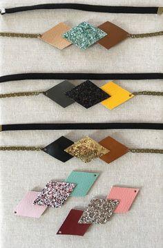 Headband géométrique paillette et simili cuir