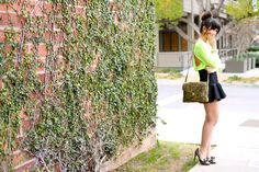 brick wall, neon top and trumpet skirt Neon Top, Ordinary Day, Fit And Flare Skirt, Trumpet Skirt, Brick Wall, Outdoor Structures, My Style, Skirts, Life