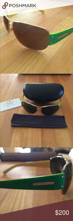 728cb083266 Prada Sunglasses with case and cleaning cloth Green and yellow Prada  sunglasses authenticated. Comes with