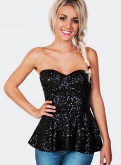 Sequin+Black+Strapless+Peplum+Top,++Top,+sequin+top++strapless+peplum+top,+Chic