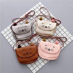 Cute Children Baby PU Cat Bag Kid's Shoulder Messenger Bag Girl Should – intothea Diy Bags Purses, Coin Purses, Animal Bag, Cat Bag, Girls Bags, Kids Girls, Baby Girls, Cross Body Handbags, Purse Wallet