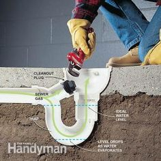 How to Eliminate Basement Odor and Sewer Smells: Stop sewer gas from entering the basement. http://www.familyhandyman.com/plumbing/drain-repair/how-to-eliminate-basement-odor-and-sewer-smells/view-all