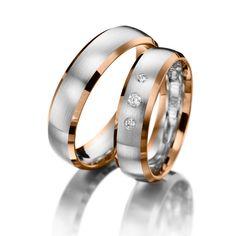 Wedding Rings 123gold Nice Price, White Gold & Red Gold, Diamonds 0.08ct.    Trauringe 123gold Nice Price, Rotgold 375/- Weißgold 375/- Breite: 5,50 - Höhe: 1,60 - Steinbesatz: 3 Brillanten zus. 0,08 ct. tw, si (Ring 1 mit Steinbesatz, Ring 2 ohne Steinbesatz)