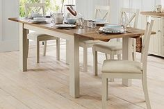 Buy Hartford® Painted Solid Pine Extending Seater Dining Table from the Next UK online shop Small Kitchen Diner, Kitchen Dining, Kitchen Ideas, Dining Table Chairs, Dining Room Furniture, Lets Stay Home, Painted Chairs, Home Upgrades, Colorful Decor