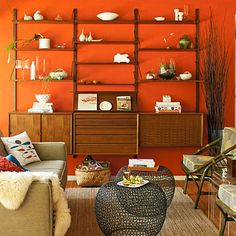 Modular shelving and a bold wall color means you don't have to do a lot of styling (or have a lot of stuff) to get a look.