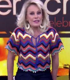 crochelinhasagulhas: Blusa colorida em crochê da apresentadora Ana Maria Braga