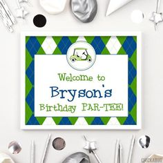 Use these 8x10 signs to make your party extra special! Welcome guests, label the food... Golf Party, Diy Party, Sons Birthday, Party Signs, Address Labels, Kid Names, Party Printables, Make It Yourself, Activities