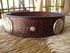 """Custom Bridle Leather Dog Collar. 1 1/4"""" Diablo Concho Collar with Embossed Hibiscus Design.  Size Medium or  Large. on Etsy, $58.00"""