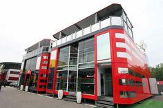 Ferrari's motorhome at the Spanish Grand Prix., 2013.