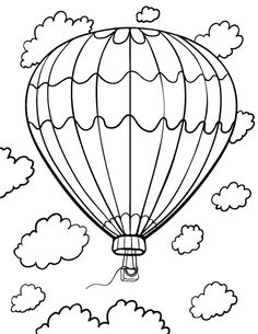 Free Hot Air Balloon Coloring Page