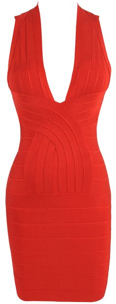 'Vanessa' Red Deep V Backless Bandage Dress Love!