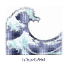 Modern cross stitch pattern the great wave of Kanawaga emoji iPhone.