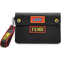 Fendi Leather Pouch (20.254.505 IDR) ❤ liked on Polyvore featuring bags, handbags, clutches, black, genuine leather purse, fendi purse, real leather handbags, genuine leather handbags and fendi clutches