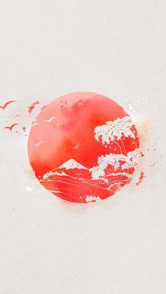 Nipon Eastern Sun Japan Waves iPhone 5 Wallpaper