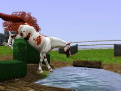 Sims 3 Horse Stable | Horse being worked in the crosscountry field