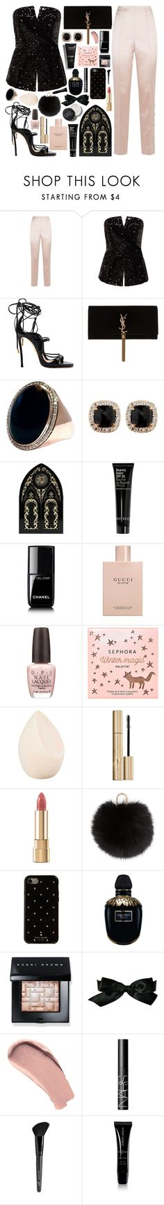 """#PolyPresents: Fancy Pants"" by douxlaur ❤ liked on Polyvore featuring St. John, Dsquared2, Yves Saint Laurent, Jona, Kat Von D, Chanel, Gucci, OPI, Sephora Collection and Christian Dior"
