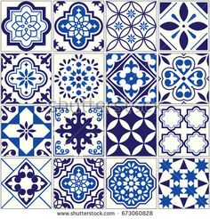 Spanish or Portuguese vector tile pattern, Lisbon floral mosaic, Mediterranean seamless navy blue ornament Ornamental tile background, background inspired by Spanish and Portuguese traditional tiles Buch Design, Tile Design, Pattern Design, Mundo Hippie, Mediterranean Style Homes, Mediterranean Architecture, Traditional Tile, Tuile, Spanish Tile
