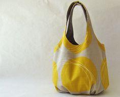 Tote bag - mustard circles on taupe