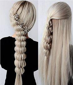 Stylish braids on long blonde hair art How To Braid For Beginners Box Braids Hairstyles, Pretty Hairstyles, Dance Hairstyles, Formal Hairstyles, Hairstyle Ideas, Curly Hair Styles, Natural Hair Styles, Lange Blonde, Types Of Braids