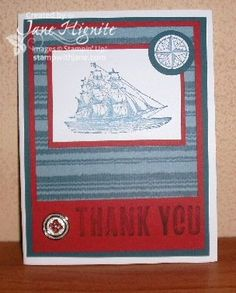 Stampin ' Up! cards, 2013 Occasions Mini Catalog items, stamped cards, handmade cards, masculine cards, thank you cards, Stampin' Up! The Open Sea stamp set, Dude You're Welcome stamp set, Parker's Patterns designer series paper, basics designer buttons
