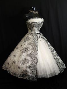 Vintage 1950's 50s Bombshell STRAPLESS Black White Metallic Floral Flocked Tulle Party Prom Wedding DRESS. $599.99, via Etsy.